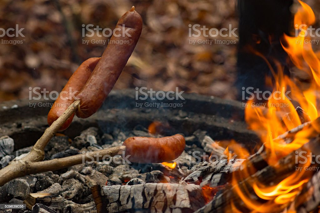 Outdoor Sausage Barbecue The lunch during an autumn hike at Hallandsåsen, Sweden. Barbecue - Meal Stock Photo
