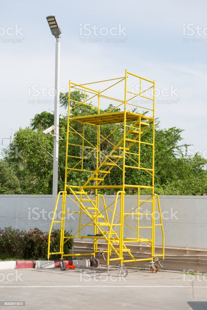 outdoor Scaffolding in construction site stock photo