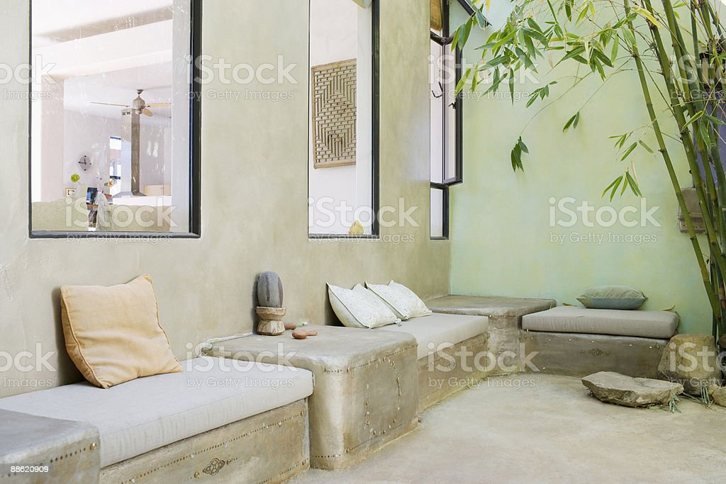 Outdoor seating area with bamboo royalty-free stock photo
