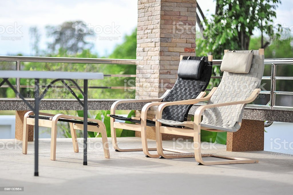 Outdoor seating area with Rattan sofa stock photo