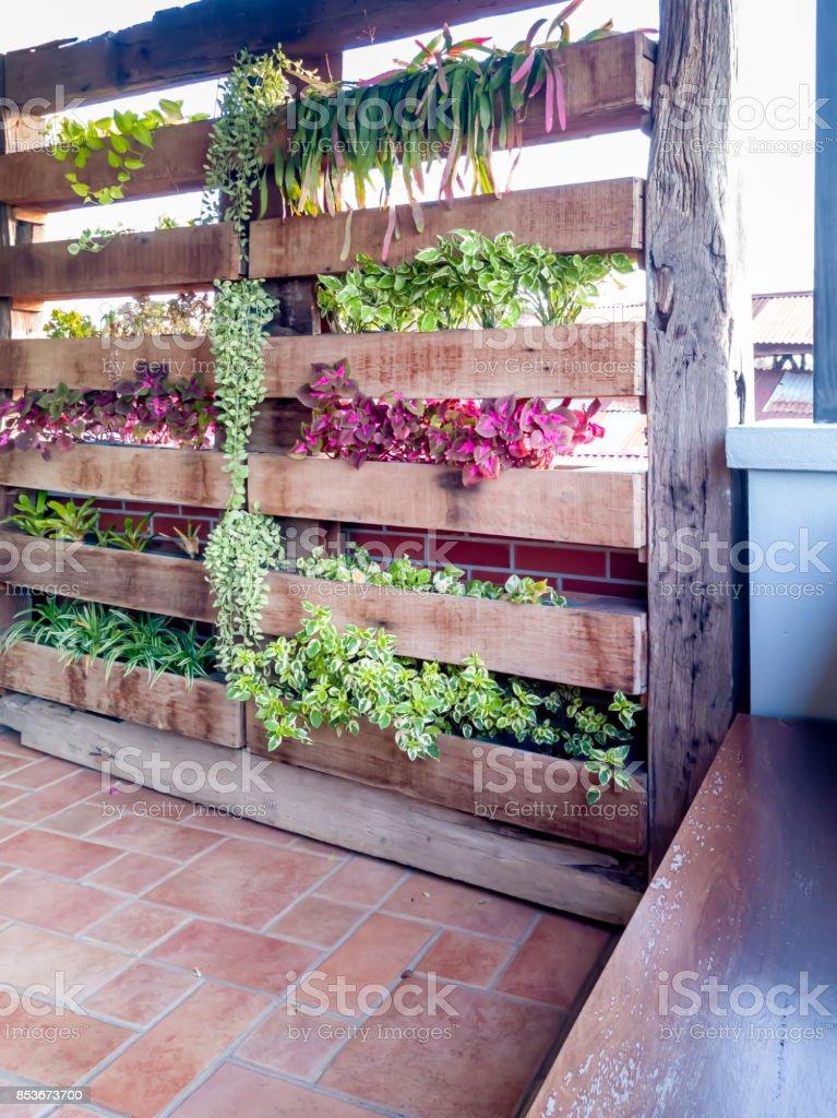 Outdoor / semi-outdoor vertical garden accessory & decoration stock photo