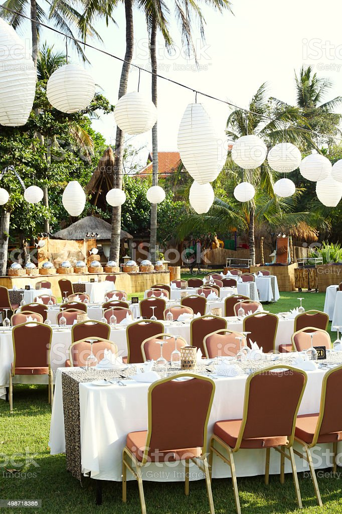 Outdoor Setup For Wedding Reception Stock Photo More Pictures Of