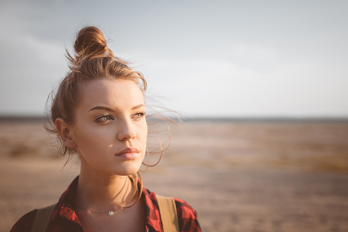 Outdoor Shot Lonely Young Woman On Desert Stock Photo - Download Image Now