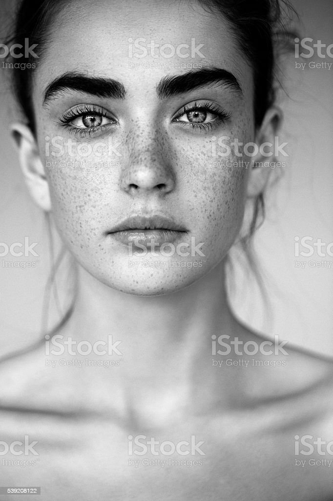 Outdoor shot of young beautiful woman stock photo black and white