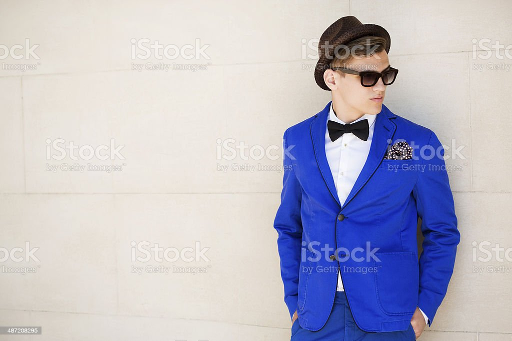 Outdoor shot of young fashionable guy stock photo