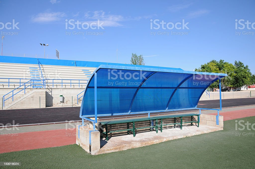 Outdoor Soccer Field Dugout royalty-free stock photo