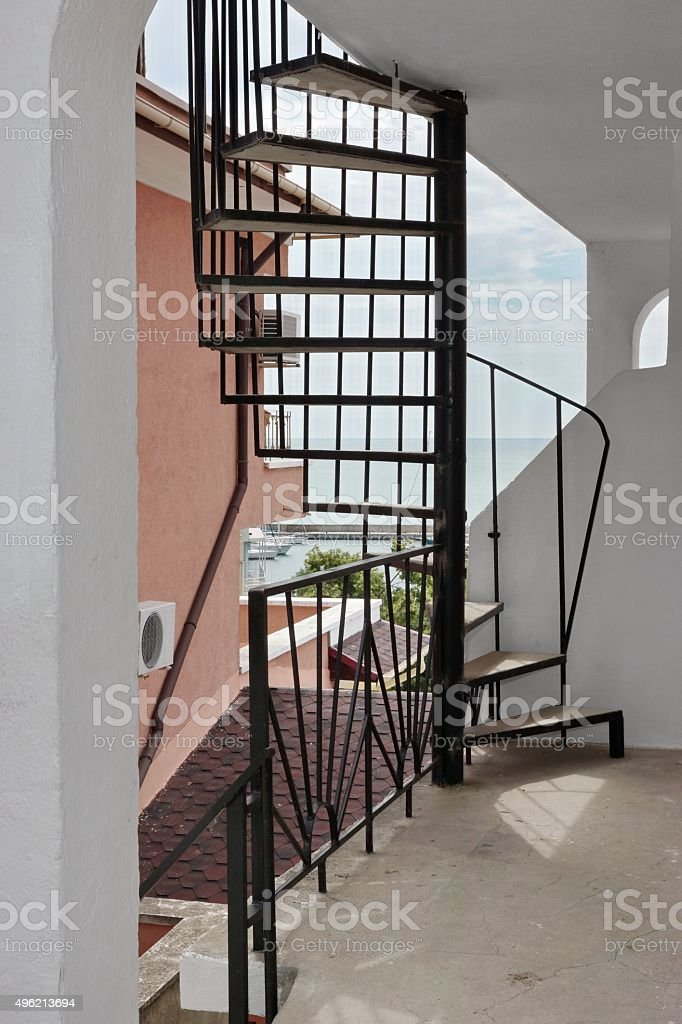 Picture of: Outdoor Spiral Staircase Leading To The Loft And Seascape Stock Photo Download Image Now Istock