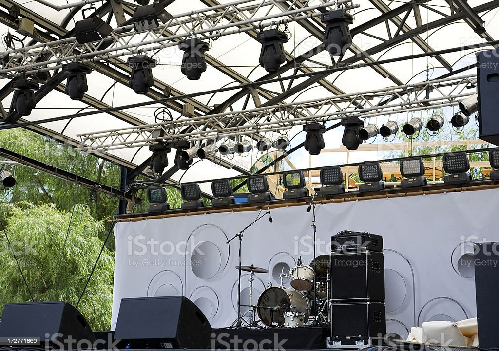 Outdoor stage prepared for the evening concert.