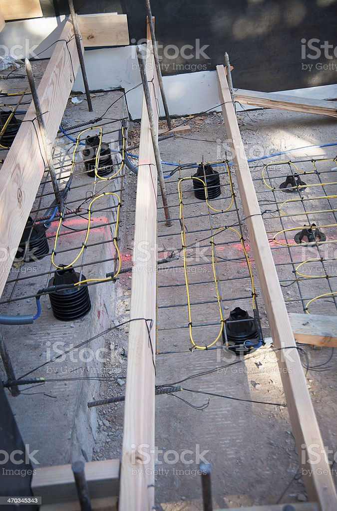 Outdoor Staircase and Heat Cable being installed royalty-free stock photo