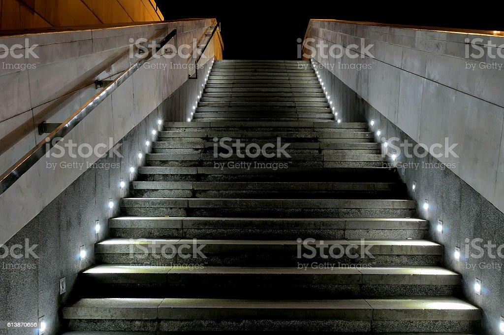 Outdoor Staircase Spotlights Illuminated At Night Royalty Free Stock Photo
