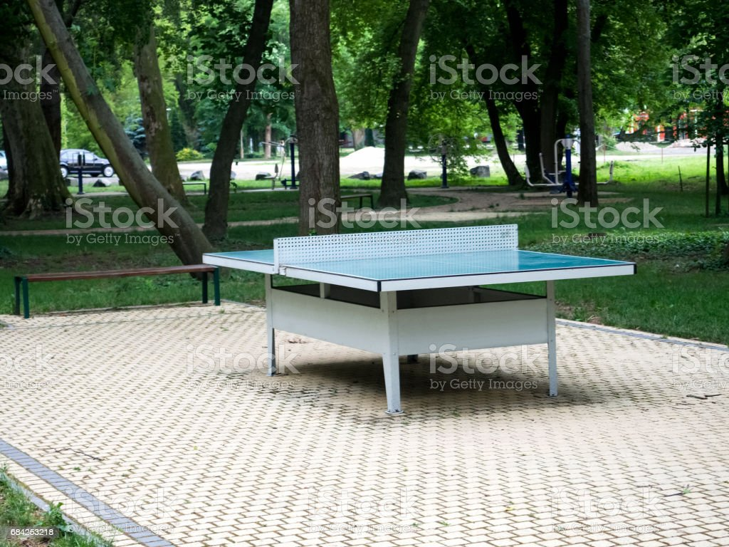 Outdoor Static Table Tennis Table. Kesztely, Hungary. stock photo
