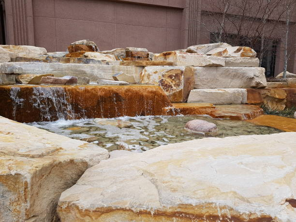 Outdoor Stone Water Fountain stock photo