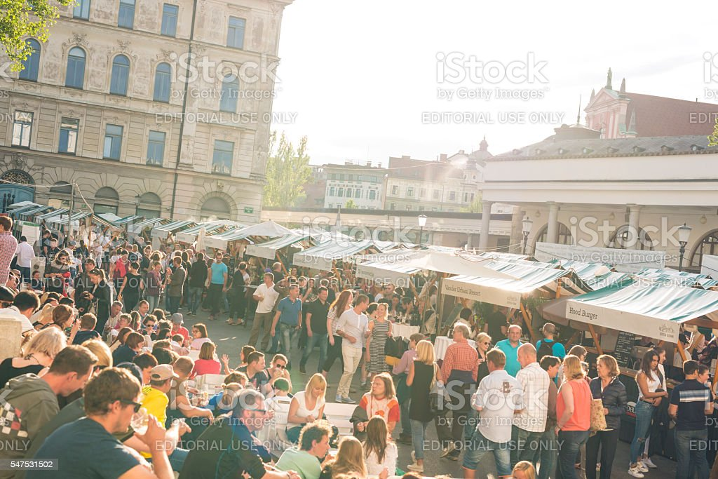 Outdoor street food festival in Ljubljana stock photo