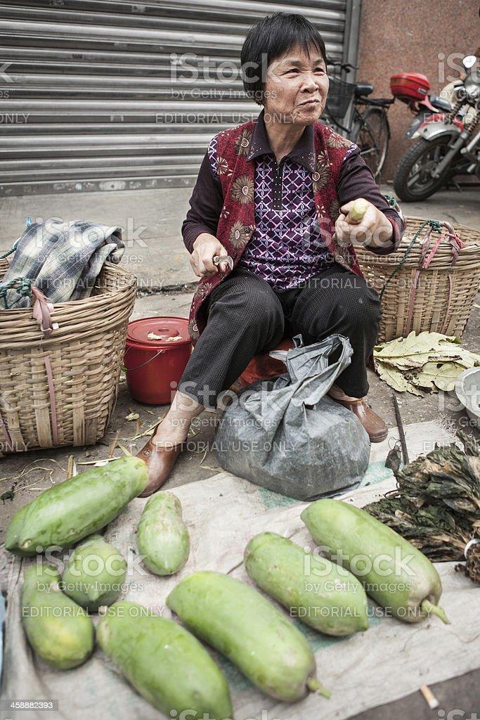 Outdoor streetside farmer's market in China stock photo