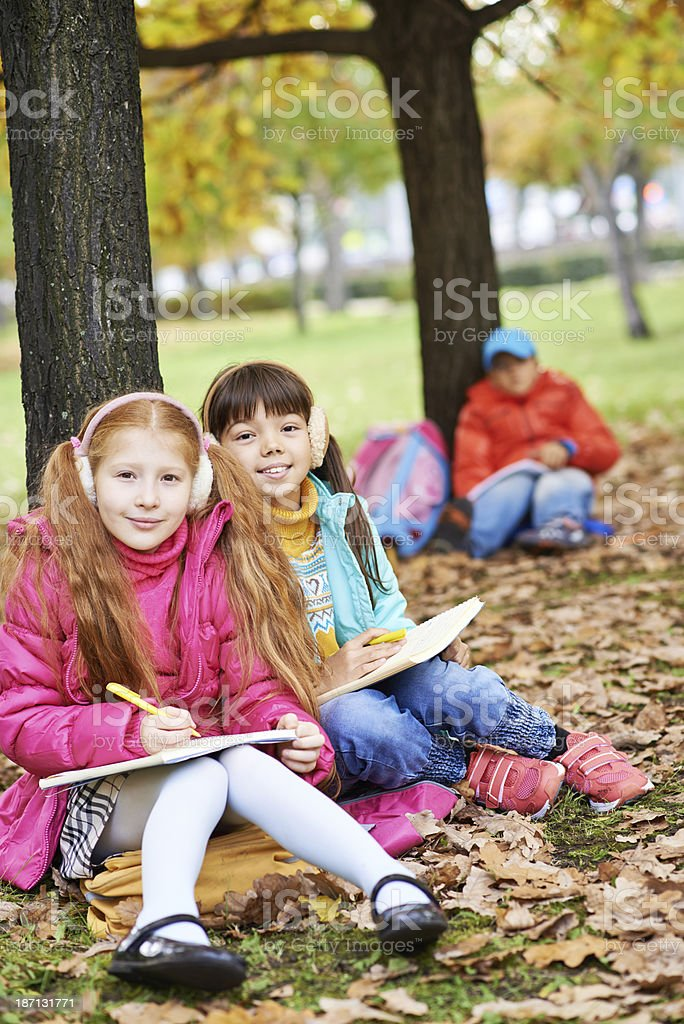 Outdoor studying royalty-free stock photo
