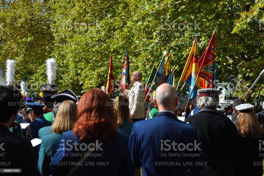 Outdoor Symphony concert conductor stock photo