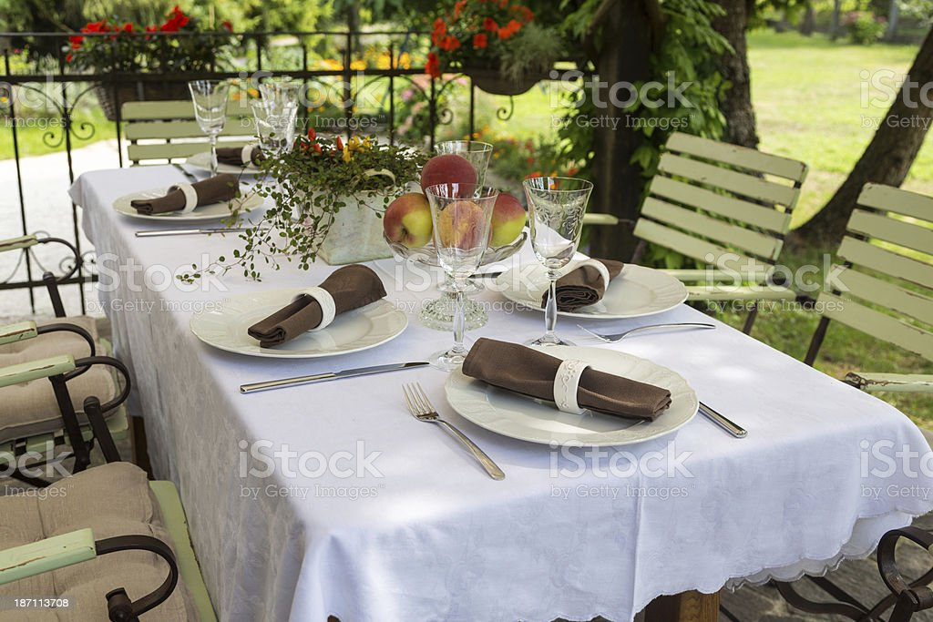 Outdoor Table Setting stock photo