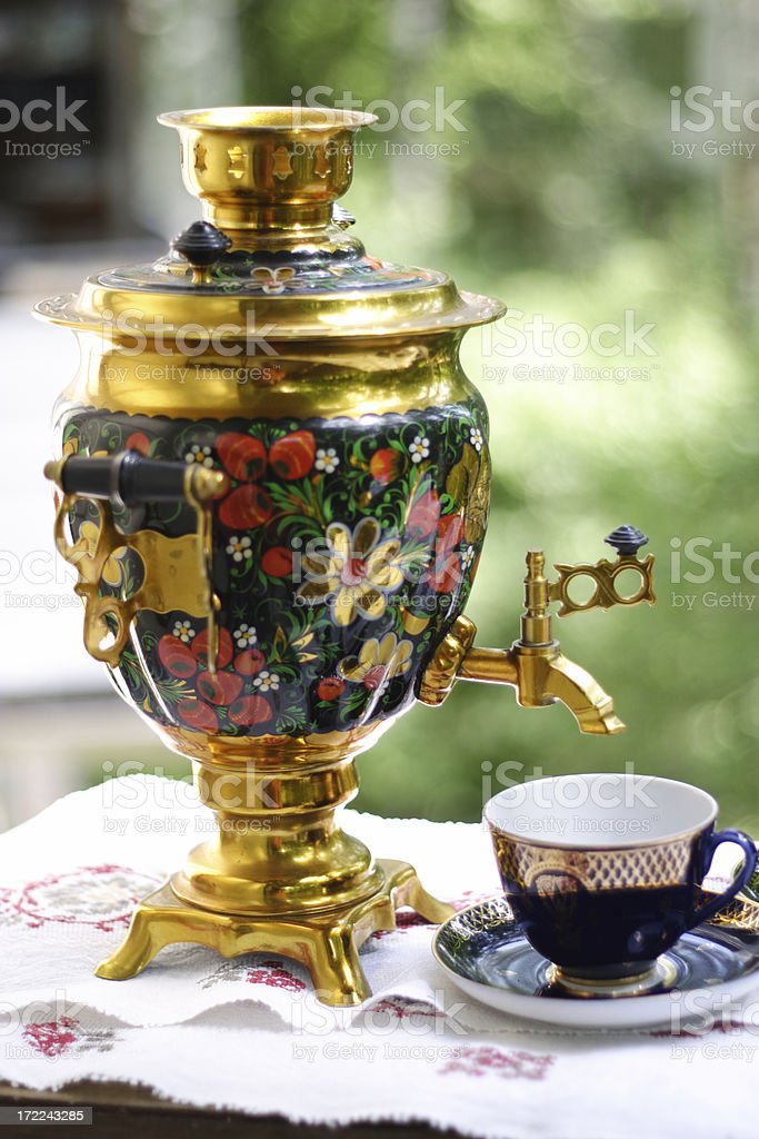 Outdoor tea drinking. Russian culture royalty-free stock photo