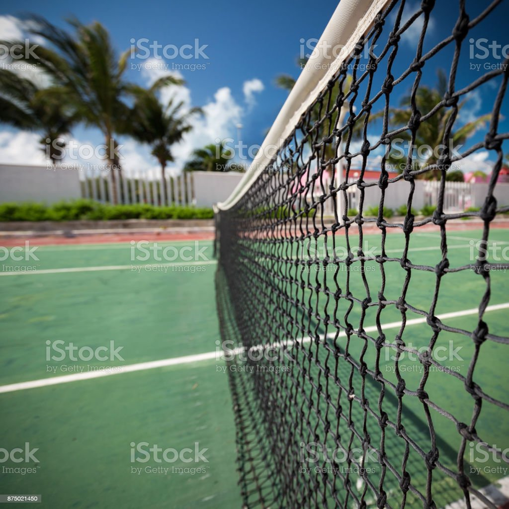 Outdoor tennis net at court with nobody stock photo