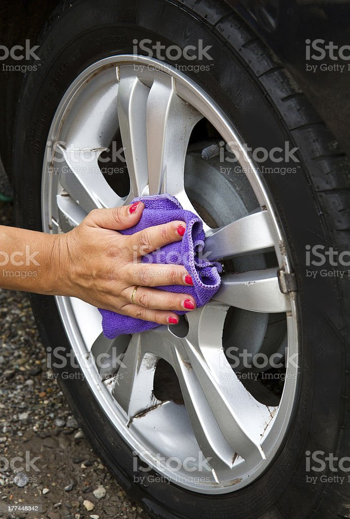 Outdoor tire car wash with  sponge royalty-free stock photo