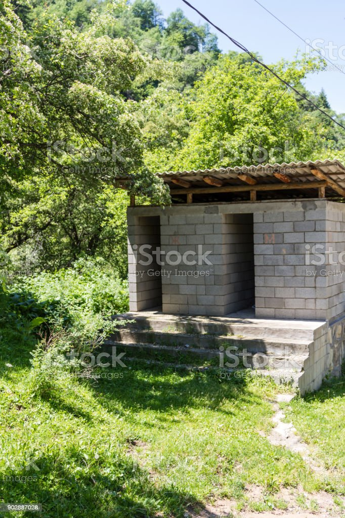 Outdoor toilet in the open air stock photo