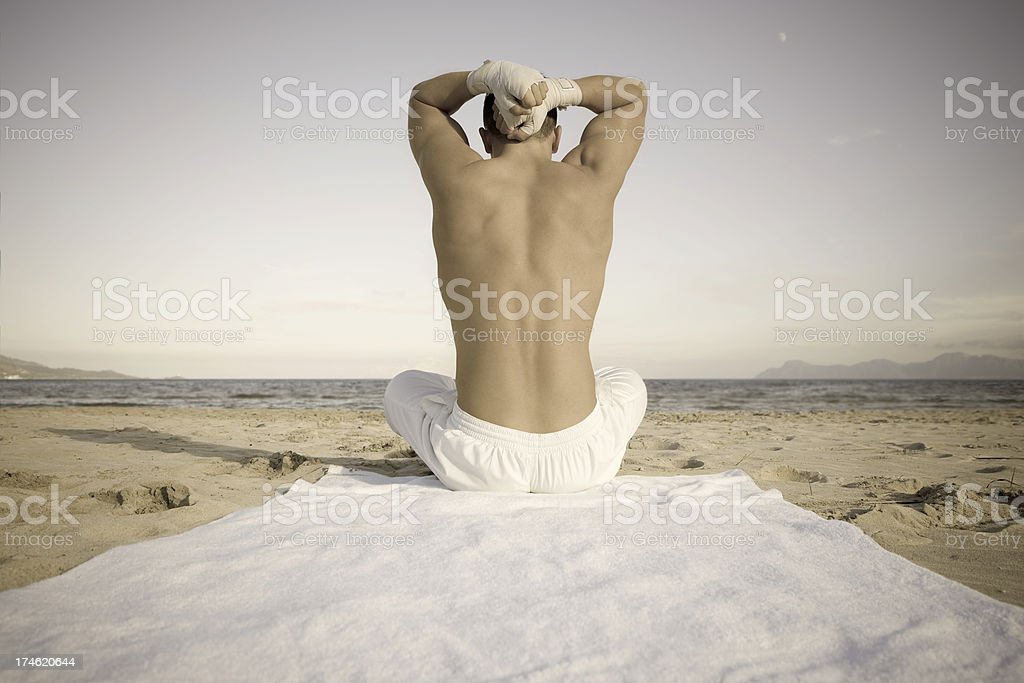 outdoor training on the beach royalty-free stock photo
