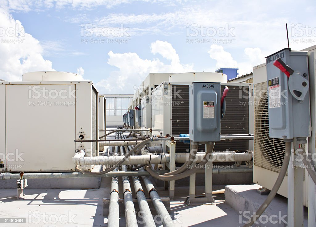 Outdoor Unit of Air Conditioning Compressor stock photo