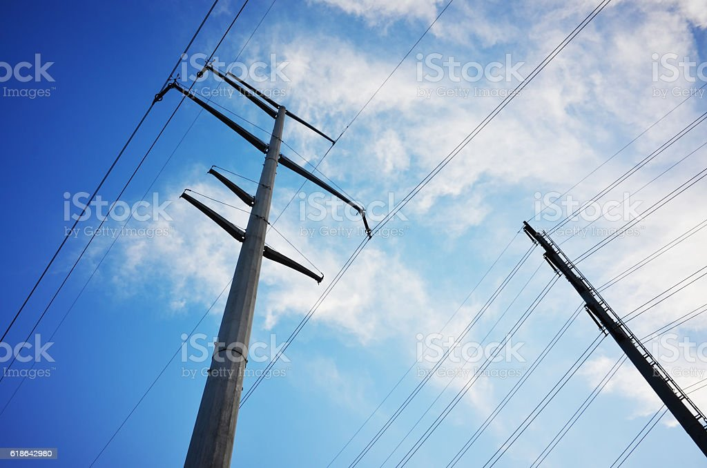 Outdoor utility poles stock photo