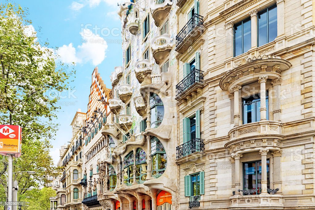 Outdoor view  Gaudi's  creation-house Casa Batlo. stock photo