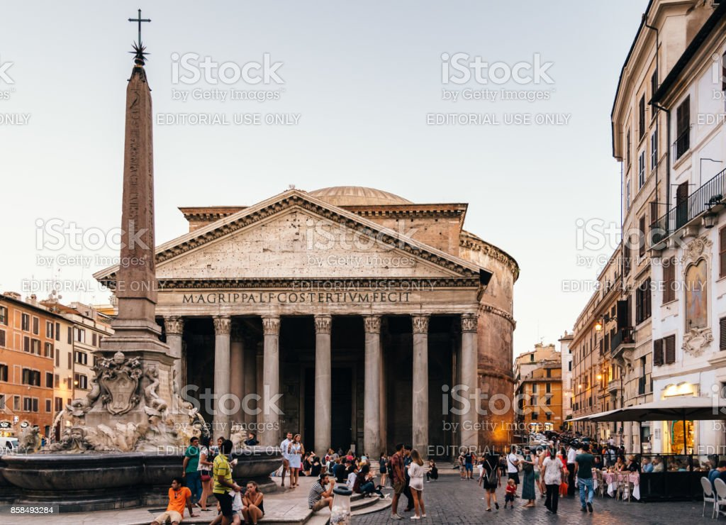 Outdoor view of Pantheon of Agripa in Rome a sunny summer day stock photo
