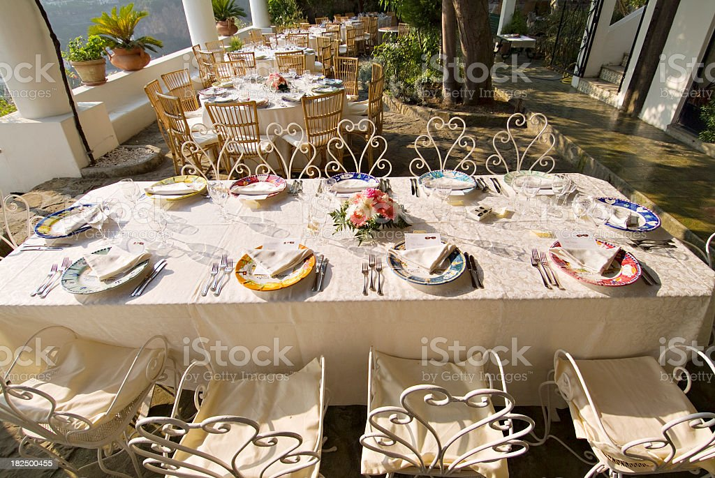 Outdoor Wedding Banquet Preparations royalty-free stock photo