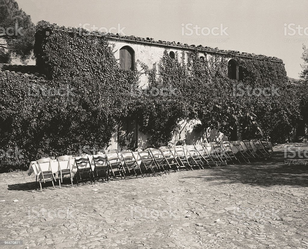 Outdoor Wedding Banquet Table Toned Black and White royalty-free stock photo