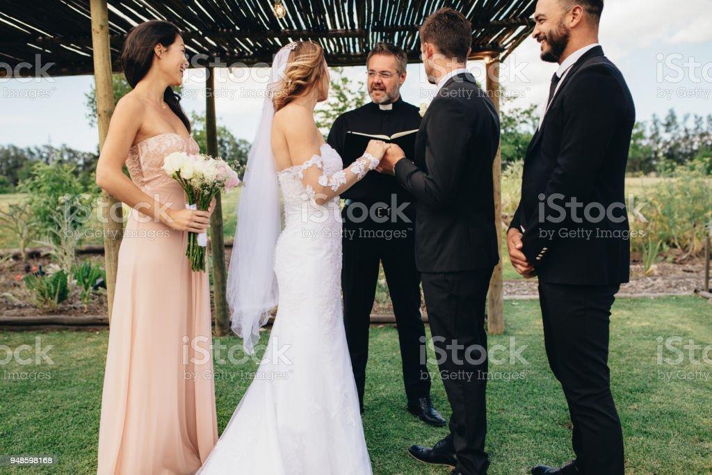 Outdoor wedding ceremony of beautiful couple stock photo
