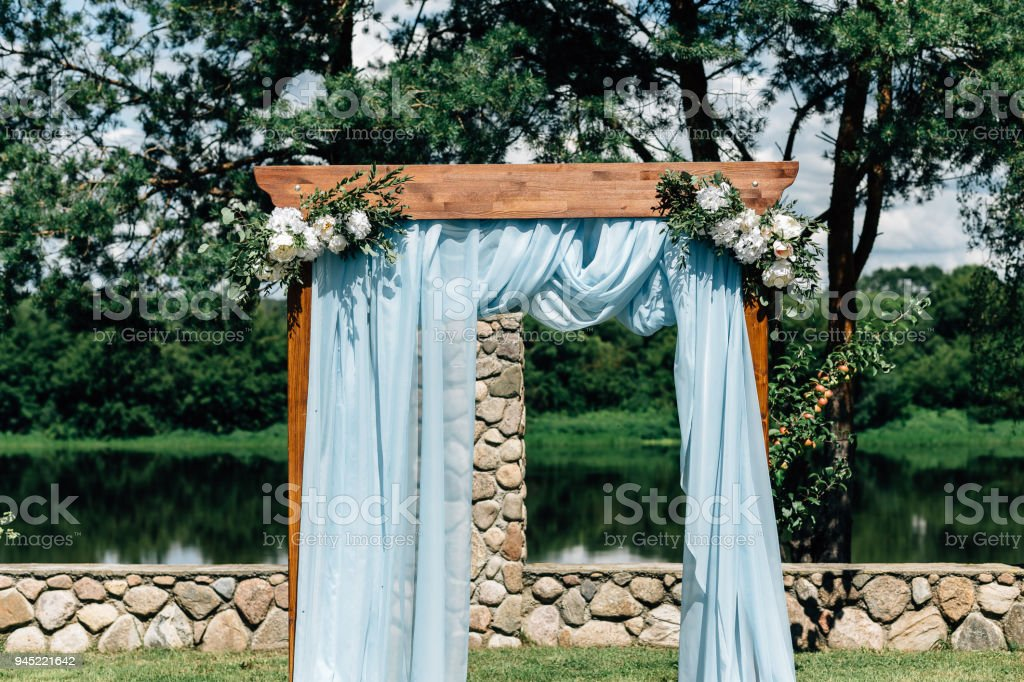 Outdoor Wedding Decorations Wood Blue Stock Photo Download