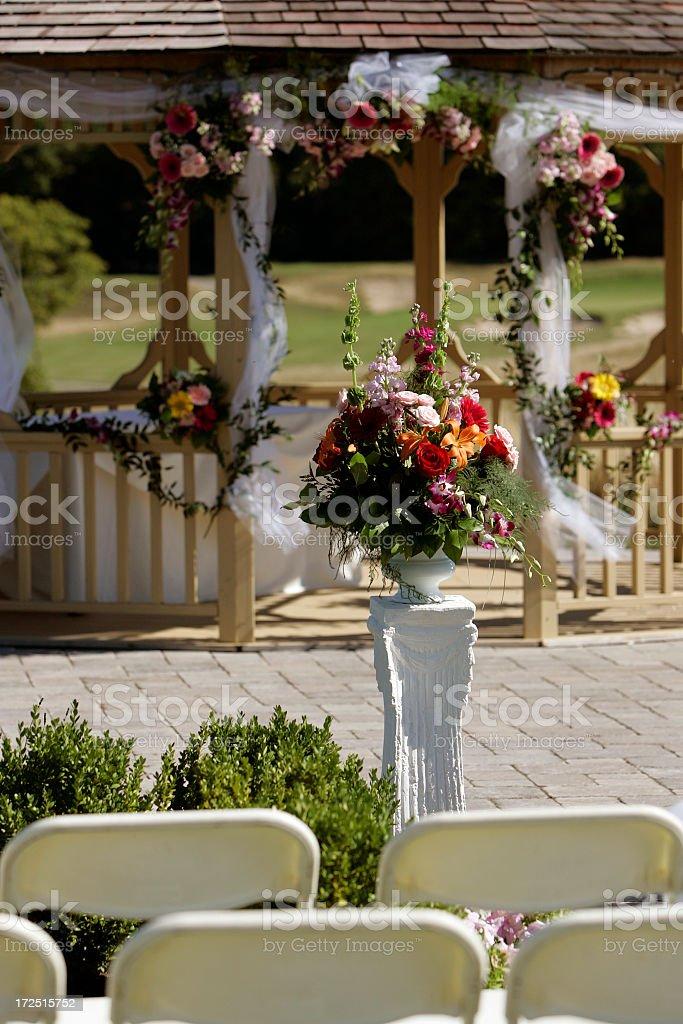 Outdoor wedding flower arrangement royalty-free stock photo