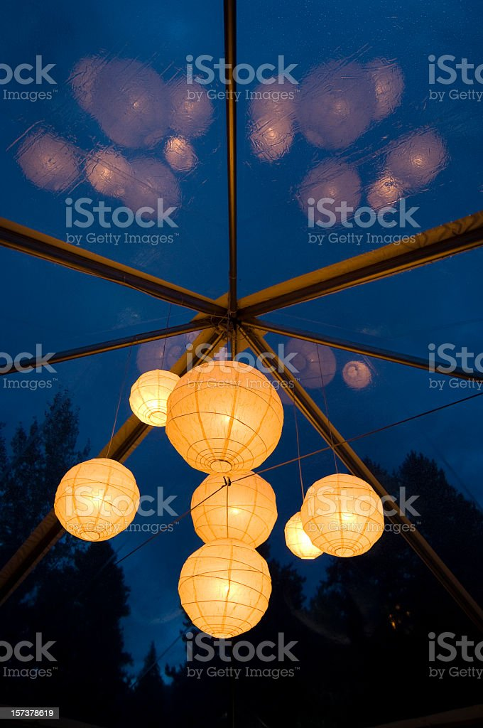 Outdoor Wedding Party Tent Decor Lighting royalty-free stock photo