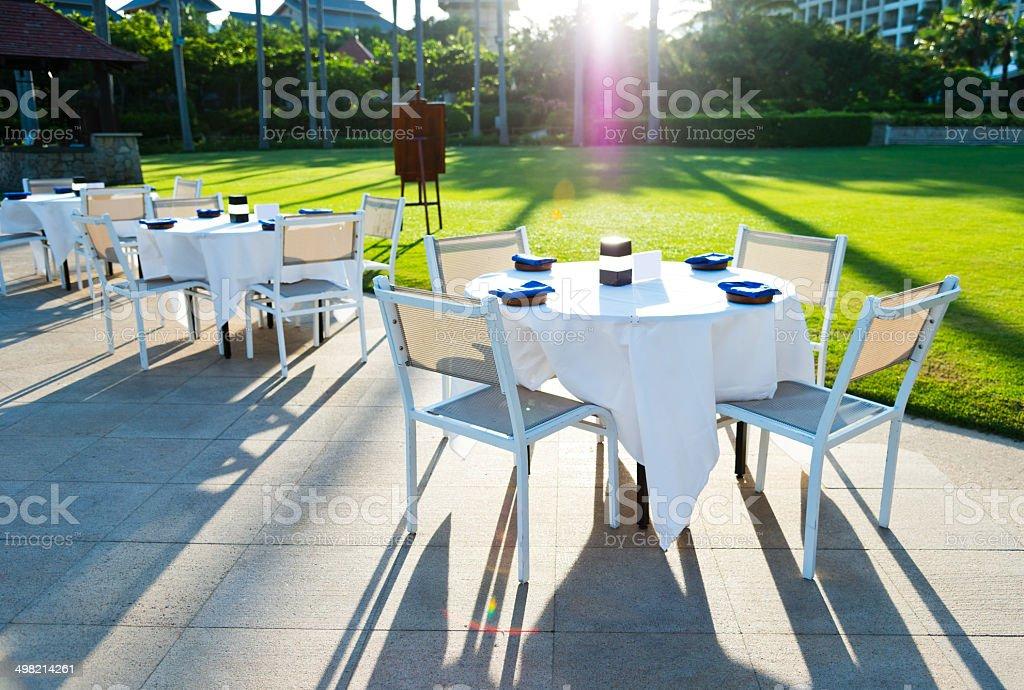 outdoor wedding reception stock photo
