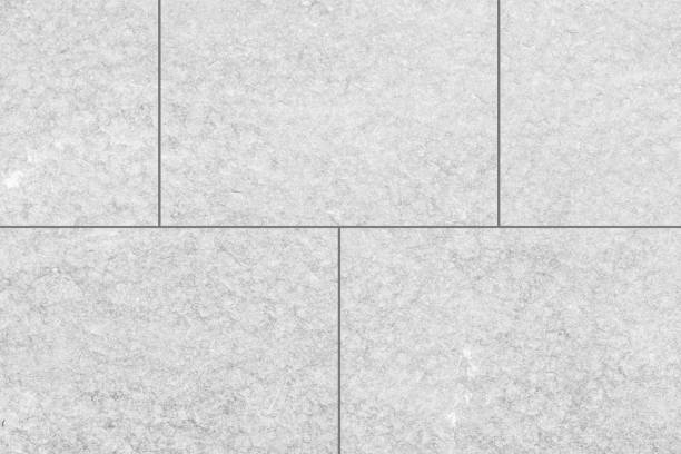 Outdoor White Stone Tile Floor Seamless Background And Texture Stock