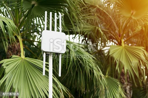 istock Outdoor wifi router. The street transmitter of the Internet signal 872187618