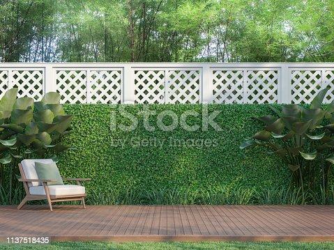 istock Outdoor wood terrace in the garden 3d render 1137518435