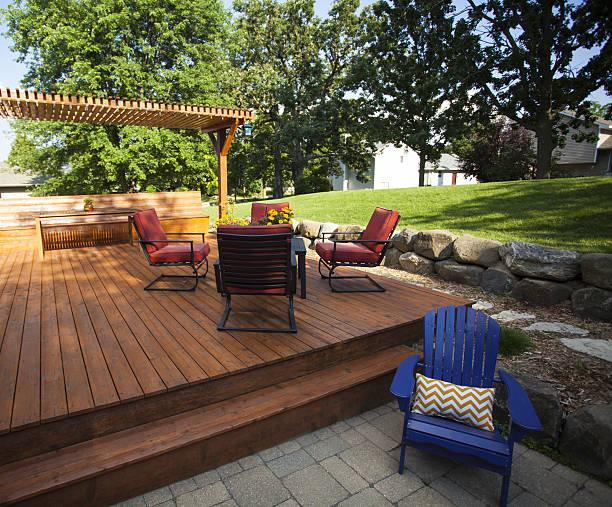 Outdoor Wooden Deck stock photo