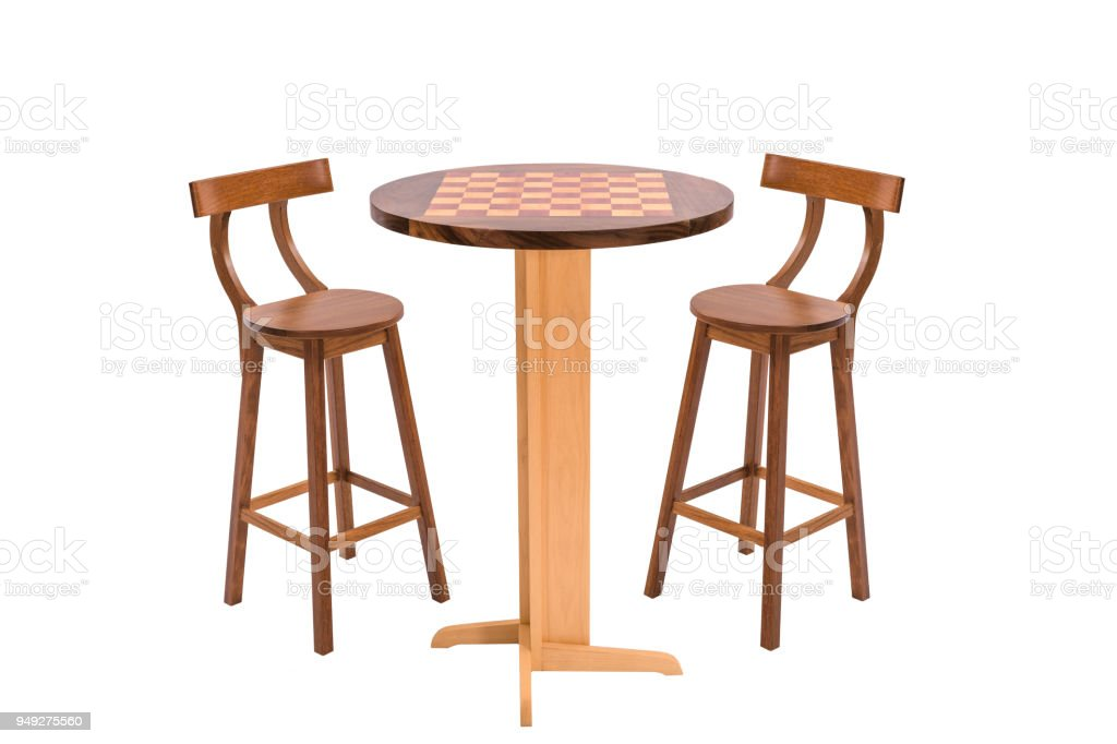 Outdoor Wooden Dining Table With Two Stools On White Background Stock Photo Download Image Now Istock
