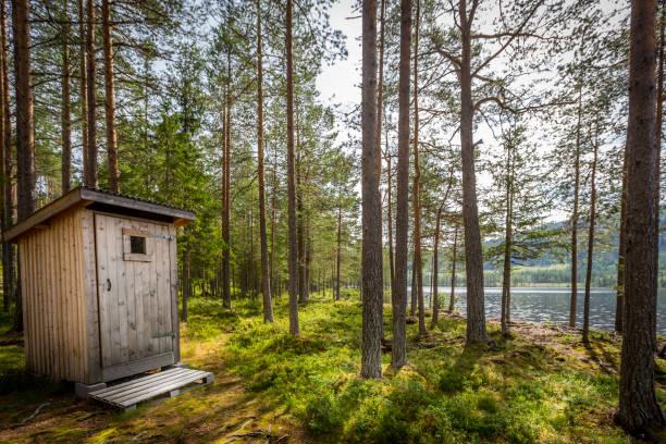 buiten houten wc in een mooie zonnige wildernis boslandschap door een meer. - gemak stockfoto's en -beelden