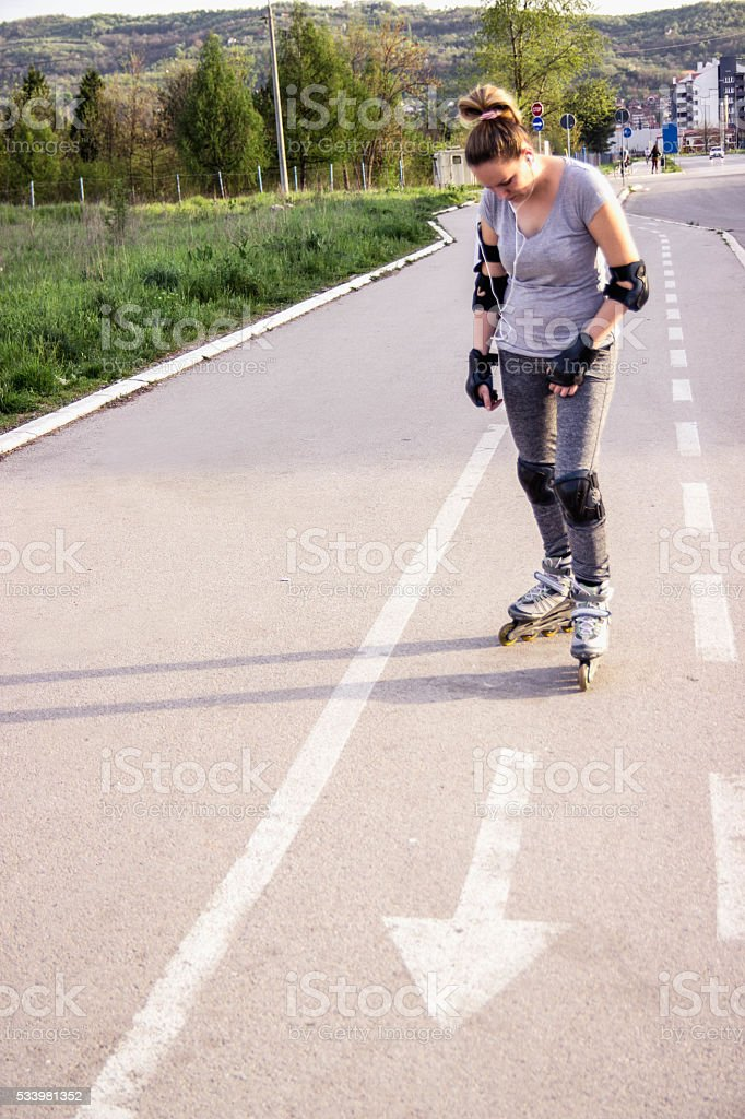 Outdoors activities sport and hobby. Girl have fun riding...