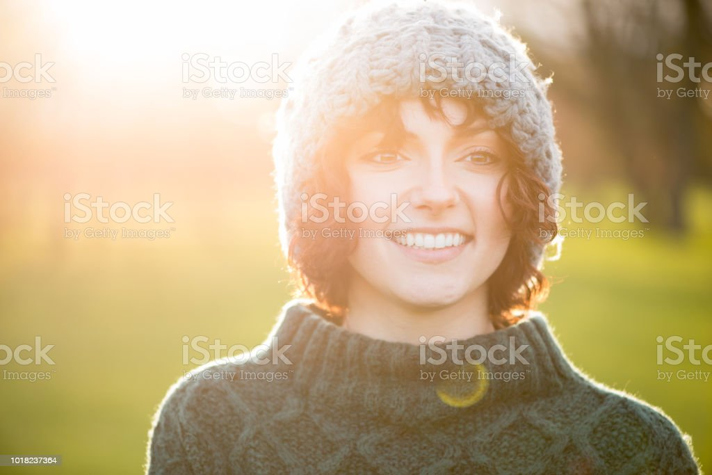 Outdoors Cold Weather Portrait of Young Woman stock photo