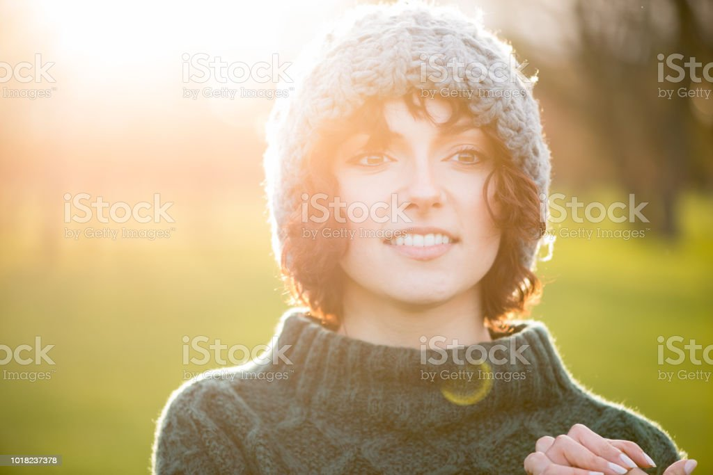 Outdoors Cold Weather Portrait of Young Woman royalty-free stock photo