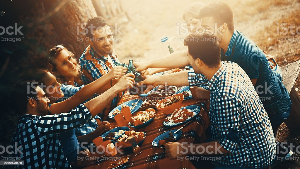 Outdoors dinner party. stock photo
