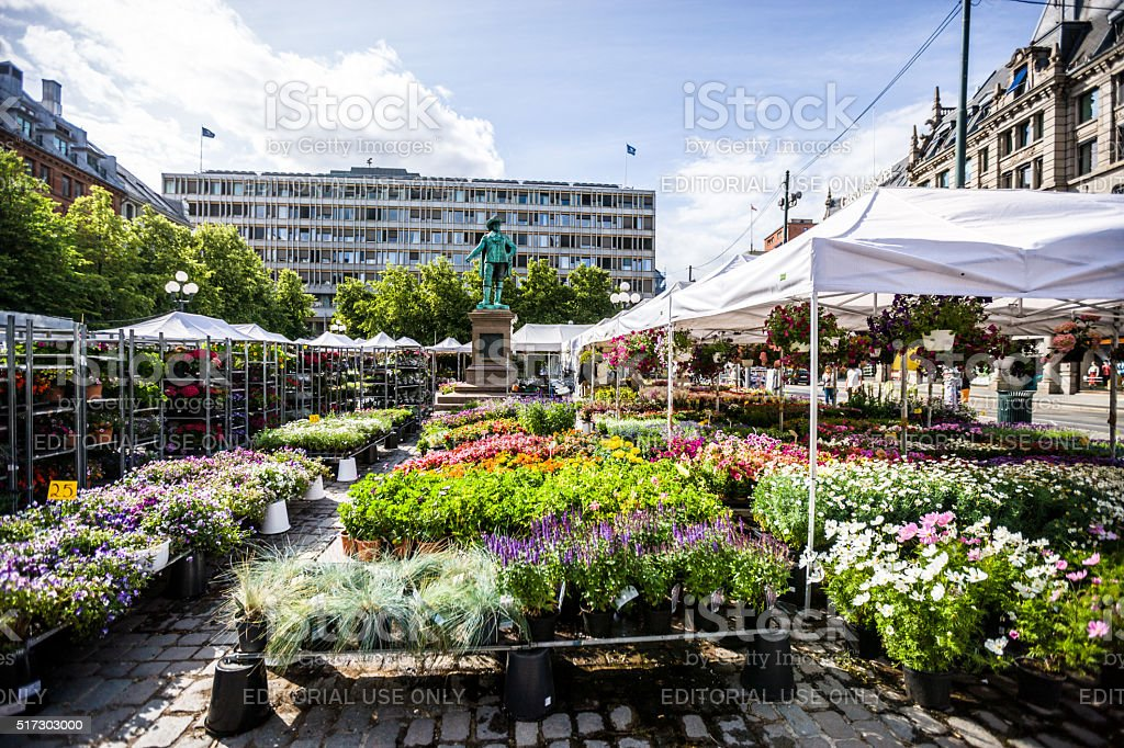 Outdoors Flowers and plants market in Oslo, Norway stock photo