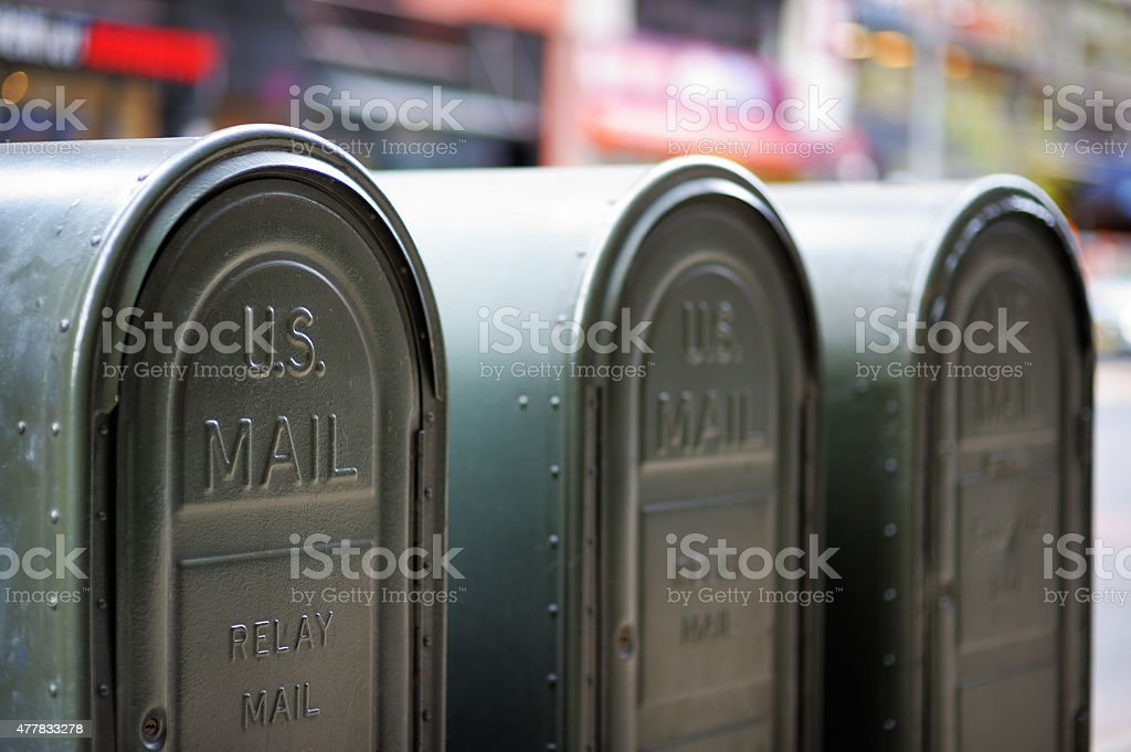 Outdoors mailboxes stock photo