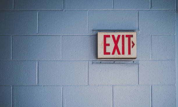 outdoors - exit sign stock photos and pictures